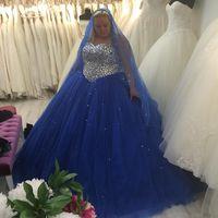 Wholesale line wedding dress black diamonds resale online - Blue Plus Size Wedding Dresses Sweetheart Diamonds Tulle A Line Luxury Bridal Gowns Court Train vestido de noiva