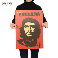 Wholesale Pvc Advertising - TIE LER Che Guevara Character Retro Posters Advertising Nostalgic Old Bar Decorative Painting Vintage Wall Sticker 51.5X36cm