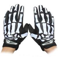 Wholesale Cycling Skeleton Gloves - Men Outdoor Sports Cycling Gloves Skeleton Bone Winter Warm Mitt MTB Bike Biker Full Finger Mitten Durable Slip-resistant Bicycle Gloves