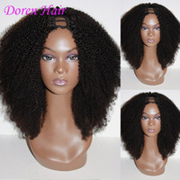 Wholesale Long Hair Black Natural Wig - U Part Wigs Afro Kinky Curly Virgin Brazilian Human Hair For Black Women Glueless Lace Upart Wigs 2x4 U Opening Size Most Popular