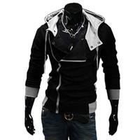 suikastçiler inançlı hırka toptan satış-Toptan Satış - 2016 Moda Hoodies Sweatshirt Fermuar Hırka Eşofman Casual Kapşonlu Ceket moleton Assassins Creed Polar İnce Coat