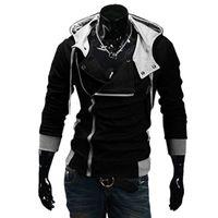 Wholesale cardigan jacket assassins creed - Wholesale- 2016 Fashion Hoodies Sweatshirt Zipper Cardigan Tracksuit Casual Hooded Jacket moleton Assassins Creed Fleece Slim Coat
