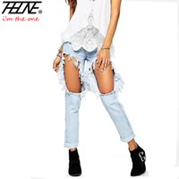 Wholesale Lady Flange - Summer Style Women Jeans Denim Pants Big Hole Ripped Flange Washed Ladies Straight Fashion Casual Trousers Torn Boyfriend Jeans