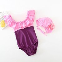 Wholesale Wholesale Lycra Swimsuit - Family Matching Swimsuit Mother Daughter Swimwear Ruffles Collar Summer One Piece Beach Bathing Suit +Hats JY001