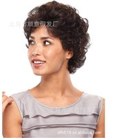 Wholesale Elderly Wigs - Mother brown Short curly Hair Wigs with bangs fashion Heat Resistant synthetic hair wig for Elderly Ladies pelucas pelo natural