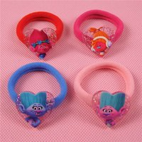 Wholesale hair animation online - 24PCS New Cartoon Animation Trolls Girls Hair rope Lovely Hair Accessories Hair rings Headwear Children Gifts High Quality Can Pick Mixed