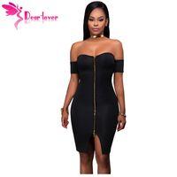 Wholesale Zip Front Mini Dress - Dear-Lover bodycon dresses 2017 Sexy Party Off Shoulder Black Front Zip and Slit Tight Wrap Dress vestido de festa curto LC22951 17410