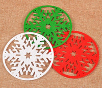 Wholesale Dinner Cups - New Arrive Merry Christmas Snowflakes Cup Mat Christmas Decorations Dinner Party Dish Tray Pad for Home Decor