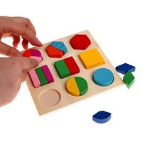 Kids Baby Wooden Learning Geometry Jouets éducatifs Puzzle Montessori Early Learning Stacking Building Brain Training Toys
