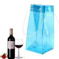 Atacado 200pcs / lot Durable Clear Transparente PVC Champagne Wine Ice Bag Bolsa Bolsa Cooler com alça