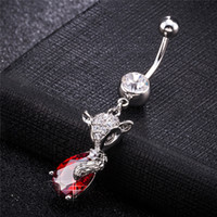 Wholesale stainless steel fox ring for sale - Group buy 18K White Gold Plated Red Purple CZ Fox Belly Piercing Ring for Sexy Women for Bar Porm Party