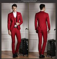 Wholesale Slim Hot Plaid Suit - Hot 2018 Latest Red Slim Fit Men Suits Fashion Bridegroom Wedding Tuxedos Wedding Suits Blazer (Jackets+Vest+Pants)