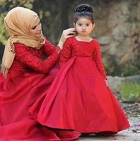 Wholesale Mother Daughter Dress Up - 2017 Red Long Sleeves Lace-up Back Flower Girl Dresses Lace Appliques Mother Daughter Dresses for Child Girls Pageant Birthday Party Dresses