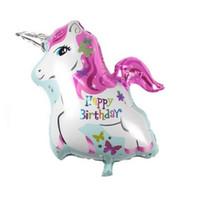 Wholesale unicorn balloon - Helium balloons happy birthday horse kids toys inflatable foil balloons unicorn birthday party decoration supplies globos helio