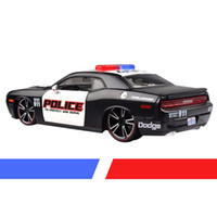 Wholesale Model Toy Police Lights - Maisto Mustang US 1 24 Scale Alloy Diecast Dodge Challenger Police Car Model Toys Viper Muscle With Light & Sound Toys For Ch