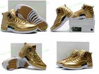 Wholesale Metallic Tables - 2017 High Quality Retro 12 Metallic Gold Men Basketball Shoes 12s Gold Sports Sneakers New Released With Shoes Box Eur Size 40-47