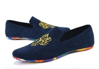 Wholesale Cloths Korean Man - Korean style men casual shoes fashion embroidery cloth shoes slip-on driving shoe design male loafers mens canvas shoes flats dha32