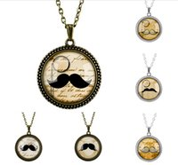 Wholesale Indian Beards - Antique Beard Magnifying Lens Necklace Timestone Pendant Vintage Silver Bronze Link Chains Retro Sweater Chain Gift