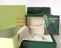Wholesale Purse Box Free - Free Shipping Green Brand Watch Original Box Papers Card Purse Gift Boxes Handbag 185mm*134mm*84mm 0.7KG For 116610 116660 116710 Watches