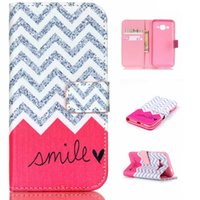 Wholesale Galaxy Wave Pouch - Pink Smile Wave Pattern Pu Leather Flip Stand Wallet Card Slots Pouch Shell Cover Case For Samsung Galaxy J1 ACE J110 J110H