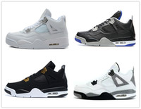 Wholesale Pure Leather Shoes For Men - 4s Classic 4 bred basketball shoes pure money toro bravo royalty white cement thunder sports shoes for men women