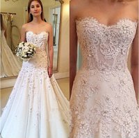 Wholesale Very Simple Wedding Dresses - Hot sale free shipping lace flowers very nice Sexy Wedding Dresses vestidos de noiva robe de mariage 2016 Sweetheart A-Line Appliques