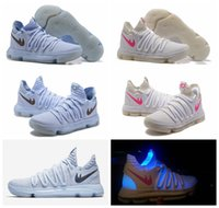 Wholesale Mens Basketball Shoes Mvp - LMTD KD 10 Anniversary Faint Blue Multi Color Mens Basketball Shoes Men 2017 New KD10 X Mvp Kevin Durant Sports Sneakers With Box