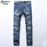 Wholesale Trousers Style For Men Jeans - Wholesale- European American Style 2017 Men's jeans slim denim trousers jeans fashion brand luxury Straight blue punk slim men jeans for