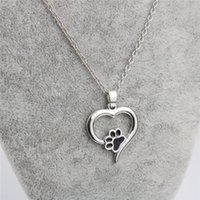 Wholesale Dog Sweets - Jewelry Necklace Sweet Heart Dog Paw Pendant Necklaces Silver Plated Alloy Short Necklace For Women Gift