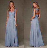 uzun kollu açık mavi gelinlik toptan satış-Açık Mavi Şifon Uzun Gelinlik Modelleri A Hattı Cap Kollu Aplikler Boncuklu Backless Kat Uzunluk Düğün Konuk Onur Hizmetçi Elbiseler
