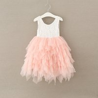 Wholesale Korean Gown For Wedding - Summer Girls Dresses floral gown for kid korean children clothing Lace Sleeveless tulle tutu dress beach wedding dresses C2119
