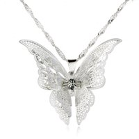 Wholesale Pendant Butterfly Pearl 925 - 925 silver plated hollow out pointed butterfly necklace pendant hot style of foreign trade Europe and the United States sell like hot cakes