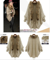 Wholesale Vintage Womens Sweaters - Vintage Womens Batwing Sleeve Cardigan Free Size Sweaters Fur Collar Wool Blend Jacket For Autumn & Winter
