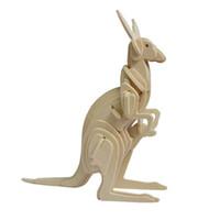 Wholesale Toys Kangaroos - MICHLEY 1pc 3D Wooden Jigsw Puzzle Kid Educational Woodcraft DIY Kit Toy Simulation Models Little Kangaroo 1ZJ0036-woodpuzzle