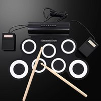 Atacado-USB 7 Pad Silicone Rolo Up Foldable Drum Eletrônico Com Sticks Profissional pedal Portable Musical Percussion Kit Machine