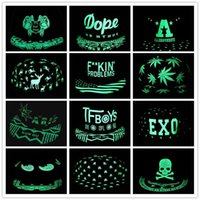 Wholesale Hip Hop Pops Wholesale - Men Women Baseball Cap Hip Hop Glow Eyes Graffiti Maple Leaf Fluorescent Hat Hip-Pop Cap Hat Snapback Luminous Black Ball Caps Y#145
