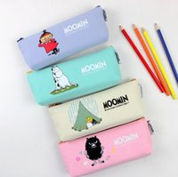 Wholesale Novelty Glasses Case - Wholesale- 1Pcs Novelty Cartoon Moomin Canvas Pencil Bag Stationery Storage Organizer Case Glasses Case School Supply 4 Colors H2024