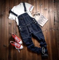 Wholesale Men S Overalls Skinny - Fashion New Mens Fit Skinny Jeans Overall Scratch Detachable Suspenders Pants