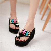 Wholesale Wedge Rings - Wholesale-Women Summer Luxury Shiny Rhinestone Slide Flip Flop Thong Toe Ring Wedge High Platform Slipper Sandals