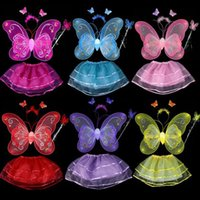 4 Pieces Ensemble de Costumes d'Halloween pour Enfants Double Layer Angle Butterfly Fairy Wings Magic Wand Headband Birthday Party Gift G457