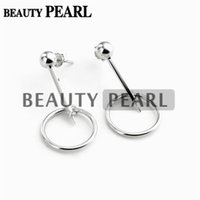Bulk of 3 Pairs Circle Earrings Configurações Pearl Semi Mount 925 Sterling Silver Findings Earring Base