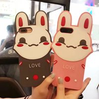 Wholesale Lovely Shocked - Lovely Couple Rabbit Silicone Phone Case for iPhone 6 6s plus 7 7Plus Soft 3D Lover Cases shock resistance Back Cover Shell free post