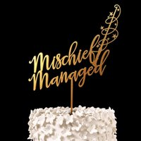 Wholesale Mischief Managed Harry Potter Cake Topper Wood Rustic Gold Silver Wedding Decor Bridal Shower Gift Anniversary Party Decoration