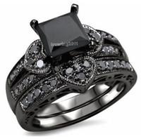 Wholesale black princess cut engagement rings for sale - Group buy choucong Princess cut black Stone A Zircon stone KT Black Gold Filled Bridal Engagement Wedding Ring set Sz Gift
