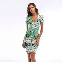 vestido estampado venda por atacado-New Women'S Vestido Profundo Decote Em V Impressão Saco Hip Saia Lápis Saia Vestidos Casuais