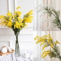 ingrosso piante in miniatura di plastica-Acacia finta / Acacia Mimosa Spray 85 cm Ghirlanda di fiori artificiali Decorazione della casa Pianta Colore giallo o bianco