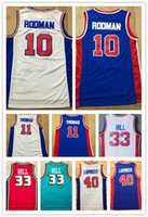 Wholesale hills shipping - NCAA Free Shipping Wholesale Men's Retro Shirt #10 Dennis Rodman Jerseys,#11 Isaiah Thomas 40#Bill Laimbeer 33# Grant Hill Basketball Jersey