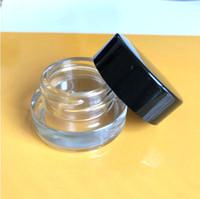 contenedores de almacenamiento transparente al por mayor-El concentrado de vidrio templado transparente de nueva llegada, el aceite de cera y el concentrado, endurece el tarro de vidrio para cera / almacenamiento cosmético