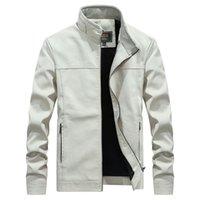 vestes de mode nobles achat en gros de-col montant blanc veste en cuir hommes 2018 hiver, veste de moto noble deportes cardigan, manteau en cuir de mode solide