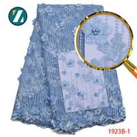 ingrosso appliques da tessuto da sposa-Tessuto di pizzo blu africano 3D applique ricamato tulle pizzo con perline per abito da sposa in tulle tessuto di pizzo PGC1923B-1